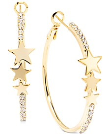 "Gold-Tone Medium Pavé & Star Hoop Earrings, 1.5"""
