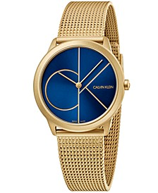 Unisex Midsize Minimal Gold-Tone PVD Stainless Steel Mesh Bracelet Watch 35mm