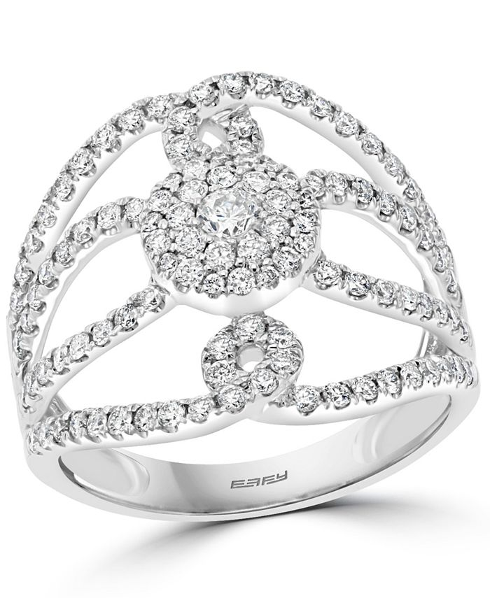 EFFY Collection - Diamond Openwork Statement Ring (7/8 ct. t.w.) in 14k White Gold