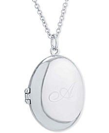 "Engraved Initial Script Oval Locket Pendant Necklace in Sterling Silver, 16"" + 2"" extender, Created for Macy's"