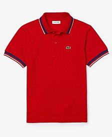 Big Boys Polo Shirt with Striped Collar