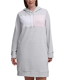 Plus Size Colorblocked Hoodie Dress