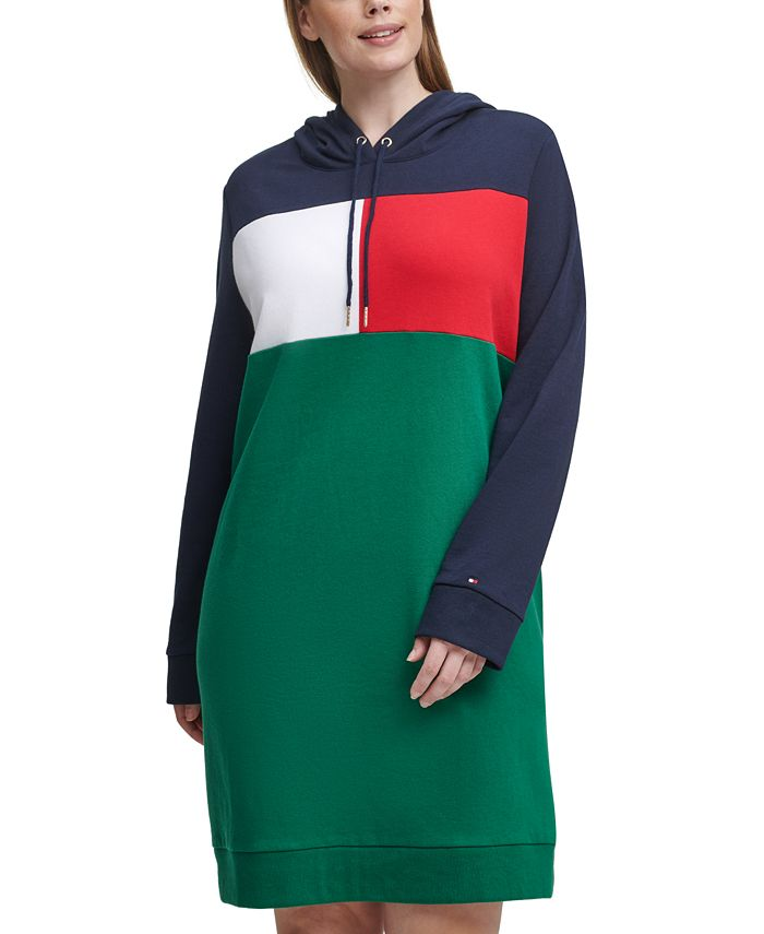 Tommy Hilfiger - Plus Size Colorblocked Hoodie Dress
