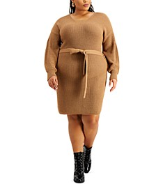 Trendy Plus Size Belted Sweater Dress