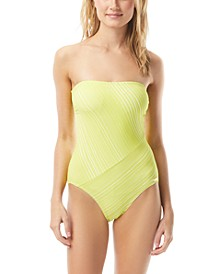 Spliced Printed Bandeau One-Piece Swimsuit