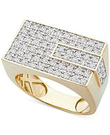 Men's Diamond Rectangle Cluster Ring (1 ct. t.w.) in 10k Gold