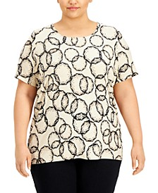 Plus Size Printed Jacquard T-Shirt, Created for Macy's