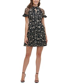 Floral-Embroidered Mesh Mini Dress