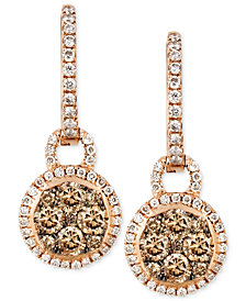 Le Vian Chocolate and White Diamond Circle Drop Earrings (1 ct. t.w.) in 14k Rose Gold