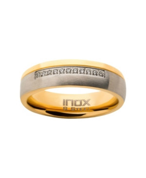 Men's Steel Gold-Tone Plated 11 Piece Clear Diamond Ring