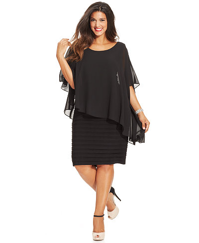 Betsy & Adam Plus Size Chiffon Capelet Sheath Dress - Dresses ...