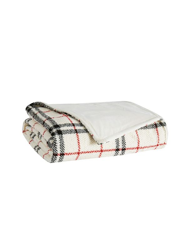 London Fog Popcorn Plaid Plush Blanket, King