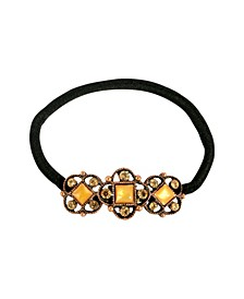 Women's Copper-Tone Mother of Pearl Ponytail Holder with Swarovski Crystals