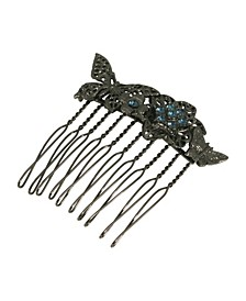 Women's Black-Tone Floral Small Hair Comb with Swarovski Crystals