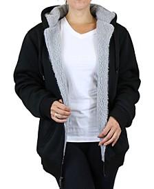 Women's Loose Fit Sherpa Lined Fleece Zip-up Hoodie