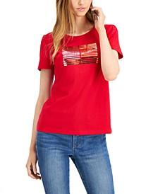 Cotton Metallic Stripes T-Shirt