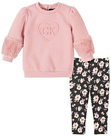 Toddler Girls Two-Piece Fleece with Floral Print Legging Set