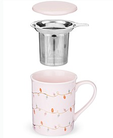 Annette™ Lights Pink Ceramic Tea Mug & Infuser by Pinky Up®