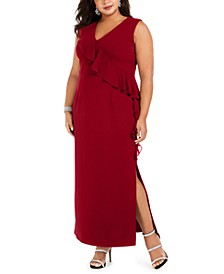Plus Size V-Neck Ruffle Dress