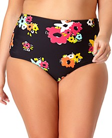 Plus Size High-Waist Printed Convertible Swim Bottoms