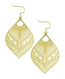 Large Filigree Marquise Drop Earring in Fine Silver Plate