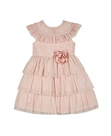 Toddler Girls Ruffle Collar and Hem Lace Dress