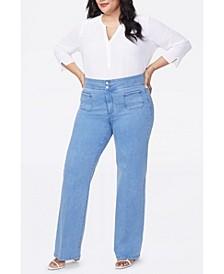 Plus Size Double Button Waistband Wide Leg Trouser Jeans