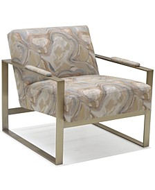 """Danyella 30"""" Brass Frame Fabric Chair, Created for Macy's"""