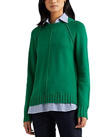 Plus-Size Layered Cotton Sweater