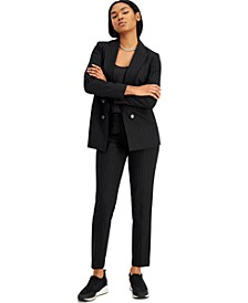 Pinstripe Double-Breasted Jacket, Scoop-Neck Camisole & Skinny Pants, Created for Macy's