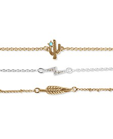 Two-Tone 3-Pc. Set Stone Cactus, Pavé Lightning Bolt & Leaf Link Bracelets