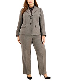 Plus Size Two-Button Herringbone Pantsuit