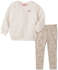 Little Girls Novelty Textured Top and Foil Print Legging Set