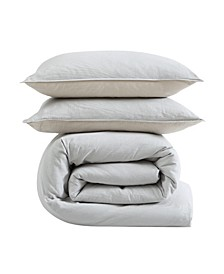 Washed Cotton King Duvet Cover Set, 3 Piece