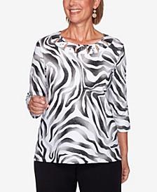 Women's Missy Modern Living Animal Print Shimmer Top