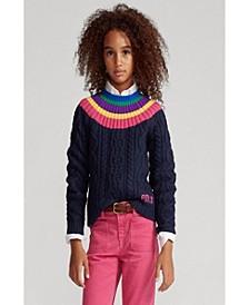 Big Girls Aran Knit Fun Sweater