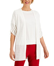 Ruched-Sleeve Cardigan