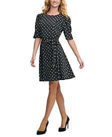 Belted Polka-Dot Dress