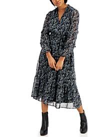 Paisley-Print Puff-Sleeve Dress