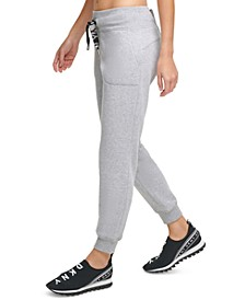 Metallic-Drawcord Cuffed Joggers
