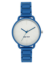 Nine West Women's Blue Rubberized Bracelet Watch, 36mm
