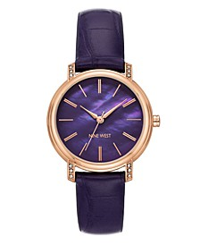 Women's Crystal Accented Rose Gold-Tone and Purple Croco-Grain Strap Watch, 35mm