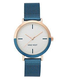 Women's Rose Gold-Tone and Blue Mesh Bracelet Watch, 36mm