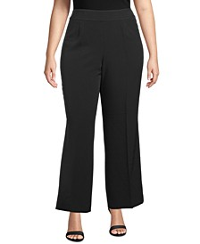 Plus Size Wide-Leg Side-Zip Pants