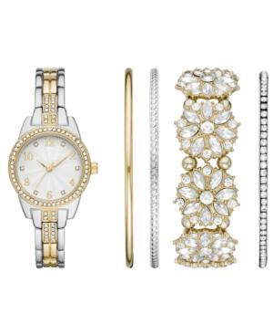 Women's Two-Tone Stainless Steel Bracelet Watch 31mm Gift Set