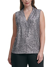 Plus Size V-Neck Sequined Top