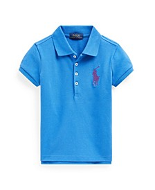 Little Girls Big Pony Stretch Mesh Polo