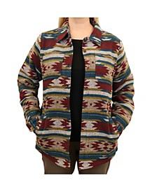 Women's Western Pattern Knit Jacquard Shirt Jacket with Polar Fleece Lining