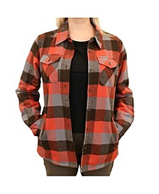 Women's Buffalo Plaid Flannel Shirt Jacket with Sherpa Lining