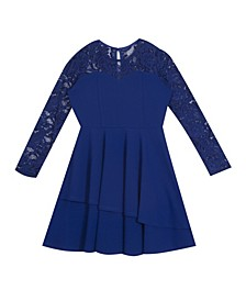 Big Girl Scuba Crepe 2-Tier Asymmetrical Skater Dress With Lace Sleeves